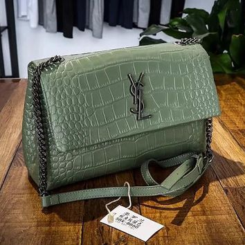 YSL Saint Laurent Women Shopping Leather Metal Chain Crossbody Satchel Shoulder Bag Green