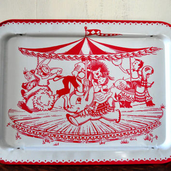 Vintage Folding Lap Tray, TV Tray, Circus Theme, Lavada Tray, Children's Tray