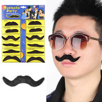 12pcs Costume Party Halloween Fake Mustache Moustache Funny Fake Beard Whisker