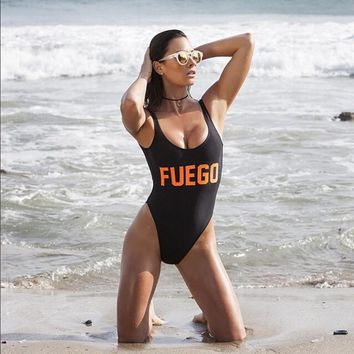 Fuego Text Print - Women's Sexy Sporty One-Piece Swimsuit - Low-Back, High-Cut