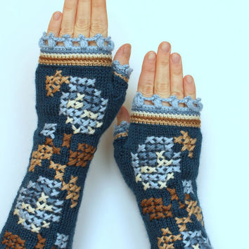 Hand Knitted Fingerless Gloves,  Gloves & Mittens, Gift Ideas, For Her, Winter Accessories,Turquoise, Ivory,Blue, Brown, Roses, Embroidered,