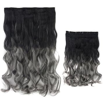 """24"""" 5 clips cards Gradient Ramp Hair Extension Curly waves 60 x 25 cm"""