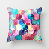 Topaz & Ruby Crystal Honeycomb Cubes Throw Pillow by Micklyn