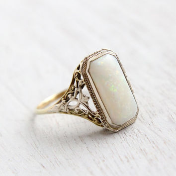 Antique 14K White & Yellow Gold Large Opal Ring - Art Deco 1920s 1930s Jewelry Signed Ostby Barton / Open Filigree