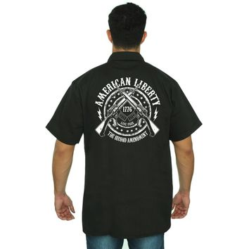 Men's Mechanic Work Shirt American Liberty The 2nd Amendment Live Free