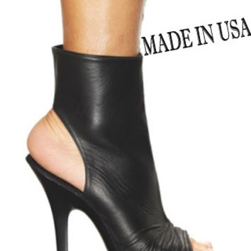 5 Inch Heel Leather Stripper Ankle Boot