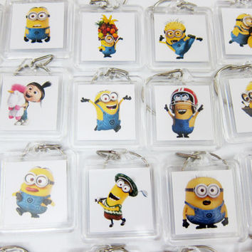 Minion Despicable Me Picture Frame Keychain Set of 10