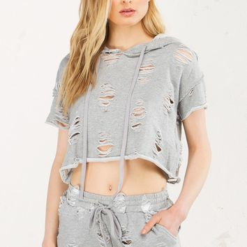Distressed Shorts in Grey