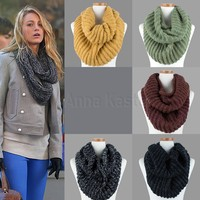 AnnaKastle Double Wrap Circle Ring Marled Chunky Knit Womens Infinity Scarf