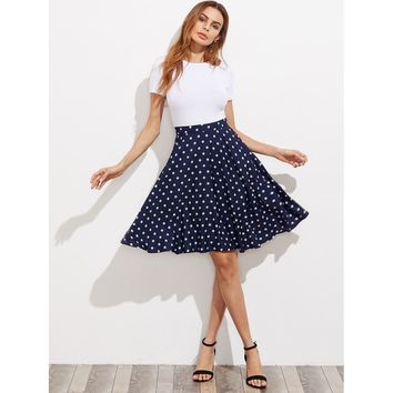 Hidden Pocket Detail Polka Dot Circle Skirt