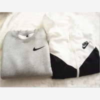 Fashion NIKE Hooded Zipper Cardigan Sweatshirt Jacket Coat Windbreaker Sportswear Contrast two style