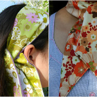 Retro Floral Green or Red Asian Floral  Ascot Scarf Reversible Choose Your Print