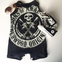 Sons of Anarchy Upcycled Baby Toddler Romper