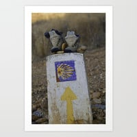 Camino Route Marker and Old Boots Art Print by janicemf