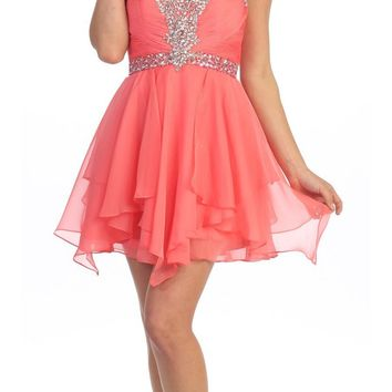 CLEARANCE - Homecoming Short Coral A Line Dress Sweetheart Rhinestone (Size Small)