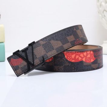 "LV  Red Heart Print ""Louis Vuitton"" Fashion Print Smooth Buckle Monogram Leather Print Belt Coffee"