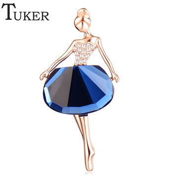 TUKER 18K Gold Plated Jewelry New Fashion Dress Icons Pins Brooches Ballet Girl CZ Wedding Bridal Rhinestone Dresses for Women