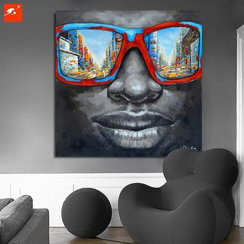 New Cool Style Street Wall Art Abstract Modern Black African Men With Sunglasses 50% Hand Painted Canvas Oil Painting