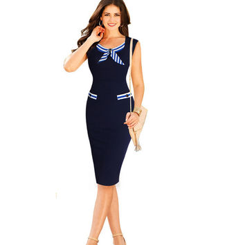 Office Dresses for Women 2016 New Work Wear Dress for Office Party Causal Nautical Navy Blue Sleeveless Bow Button Pencil Dress