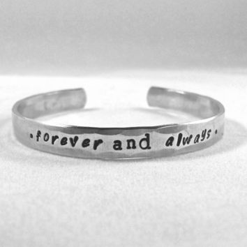 forever and always. couples bracelet, new marriage, anniversary bracelet . couples love bangle