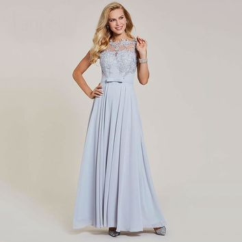 Appliques a line evening dress silver bow cap sleeves floor length gown women formal wedding party long evening dresses