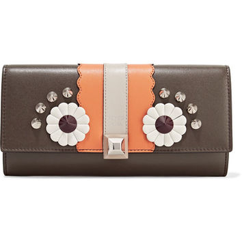 Fendi - Studded appliquéd leather continental wallet