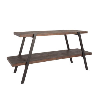 2-Shelf Aged Grey Reclaimed Wood TV Stand