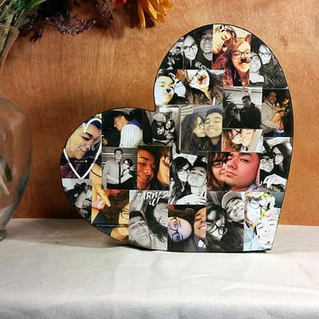Custom Photo Collage, Heart Shape Photo Collage, Wood Letters, Personal Collage, Photo Collage, Personal Photo Collage, Custom Photo Letters