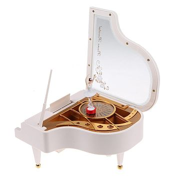 Clockwork Type Rotary Classical Ballerina Girl On The Piano Music Box Musical Instrument Toys