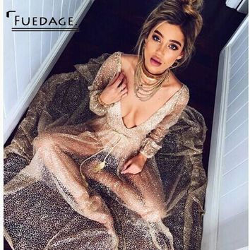 Fuedage 2018 Summer Solid Simple V-Neck Maxi Dress High Waist Long Sleeve Women Dress Sexy Perspective Vintage Party Dresses