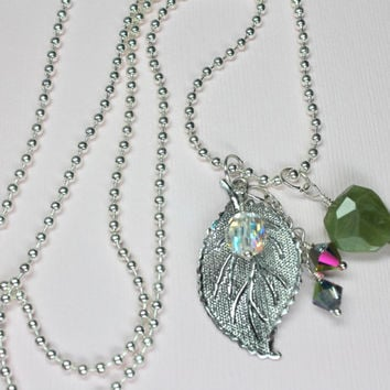 Silver Leaf Necklace, Green Garnet Necklace, Silver Leaf Charm with Swarovski Crystal Layering Necklace