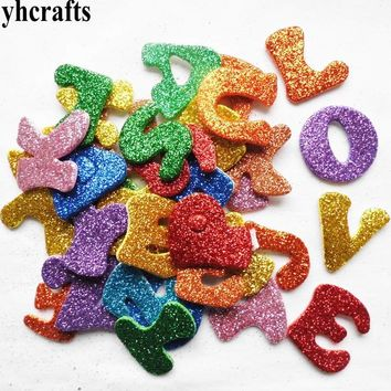 750PCS(10bags)/LOT Glitter foam alphabet letters stickers 10 design,Kindergarten arts and crafts toys Scrapbooking kit Creative