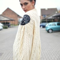 BeWorn — Vintage Cream Aran Knit Jumper, Leather Studded Shoulders