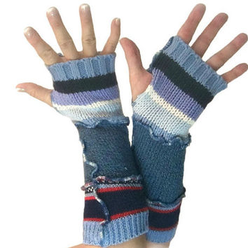 Blue Arm Warmers, Upcycled Clothing, Blue Fingerless Gloves, Upcycled Arm Warmers, OOAK Arm Warmers,  Handmade Arm Warmers, Gift for Her