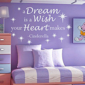 Quotes Cinderella Wall Decal A Dream Is Decals Girl Bedroom Vinyl Decor MR352