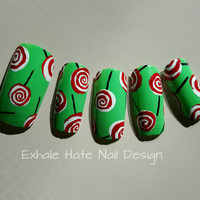 Christmas Holiday Peppermint Lollipop Fake Press On Nails - Stiletto, Oval, Square, Coffin/Ballerina
