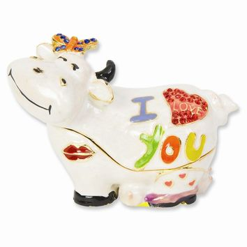 Enameled & Crystal I Love You Cow Trinket Box