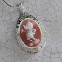 Disney Necklace Jewelry, Mickey Mouse, Cameo Pendant Necklace, Sterling Silver, OOAK