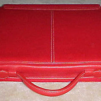 Zero Cost To Send Levenger Red Leather Laptop Bag 1994