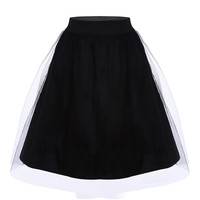Black Puff Tulle Midi Skirt