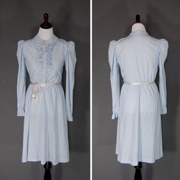 Vintage Ruffle Dress / Prairie Dress / Powder Blue / Ribbon Ties / 1970's