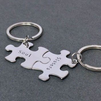 Soul Sisters Keychains, best friend keychain, Best friend Gift, Puzzle Piece Keychains , Anniversary Gift