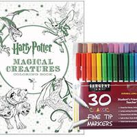 Sargent Art Classic Fine Tip Markers in a Case, Set of 30 and Harry Potter Magical Creatures Coloring Book By Scholastic: Stress Relieving Designs to Relax and Enjoy!