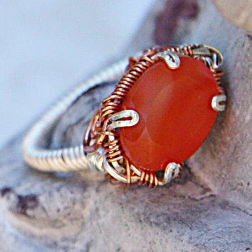 Orange Carnelian Wire Ring - Silver and Copper Carnelian Ring - Semi Precious Stone Ring - Size 5 1/2 Orange Stone Ring