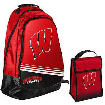 Wisconsin Badgers NCAA One Size Backpack Core Bag Insulated Lunch Box
