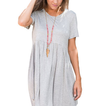 Gray Short Sleeve Pullover Babydoll Style Casual Dress