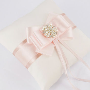 Wedding pillow / ring pillows - light pink, ecru