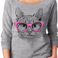 Cat raglan shirt - womens pullover - Cat Slouchy Sweatshirt - Off Shoulder Sweater - Pet lover gift - Wife gift - Funny cat - kitten sweater