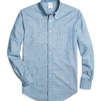 Men's Slim Fit Blue Chambray Sport Shirt | Brooks Brothers