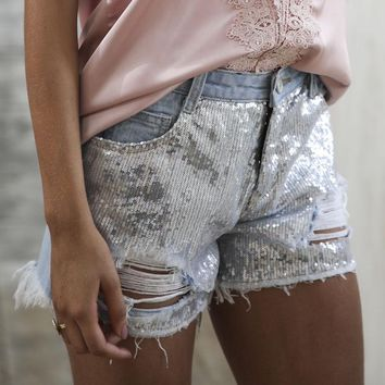 Denim Shorts Sequins Fringe
